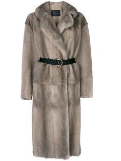 пальто из меха с поясом Blancha