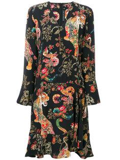 платье с длинными рукавами и принтом животных Etro