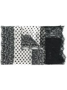 шарф с узором в горох и кружевом Twin-Set