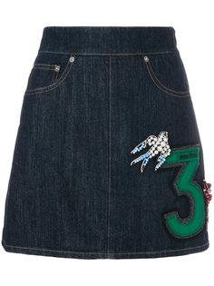 юбка с нашивками Miu Miu