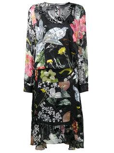 асимметричное платье с цветочным принтом Preen By Thornton Bregazzi