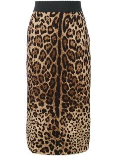 юбка-карандаш с леопардовым рисунком Dolce & Gabbana