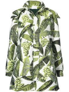 пальто с лиственным принтом Oscar de la Renta