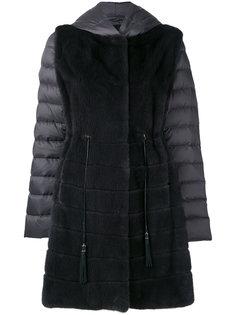 пальто-пуховик с норковым мехом Liska
