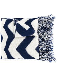 "шарф с узором ""зигзаг"" с бахромой Mp  Massimo Piombo"