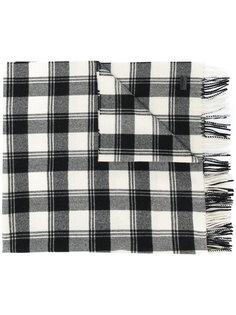 клетчатый шарф с бахромой Saint Laurent