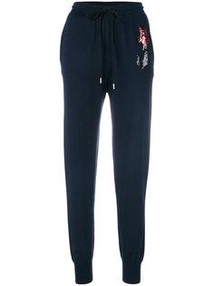 спортивные брюки с вышивкой розы из пайеток Markus Lupfer