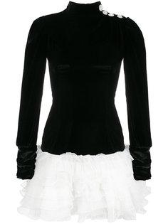 двухцветное платье с оборками Alessandra Rich