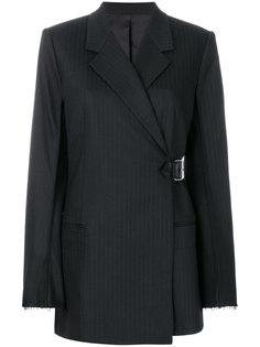 пиджак в полоску с поясом Helmut Lang