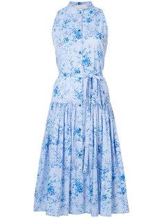 платье с цветочным принтом и заниженной талией  Carolina Herrera