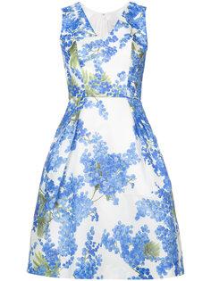 платье с V-образным вырезом и принтом  Carolina Herrera
