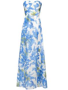 платье с вырезом сердечком и принтом  Carolina Herrera