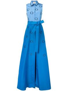 вечернее платье-рубашка с вышивкой Carolina Herrera