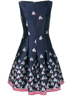 расклешенное платье с принтом лодок Talbot Runhof