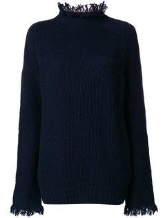 свитер с воротником и манжетами с бахромой Sacai