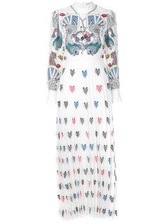 плиссированное платье с принтом игральных карт  Mary Katrantzou