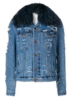 джинсовая куртка с меховым воротником Forte Couture