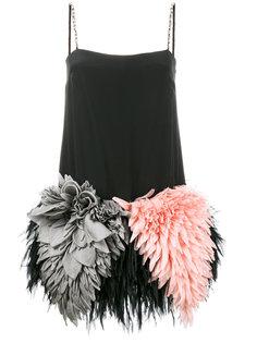 платье мини с отделкой перьями  Miu Miu