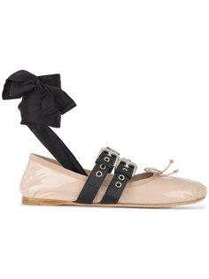 балетки с двойным ремешком с пряжкой Miu Miu