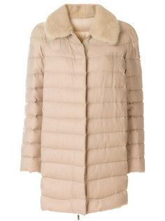 дутое пальто с цигейкой  Moncler Gamme Rouge