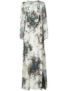 длинное платье А-силуэта с цветочным принтом Adam Lippes