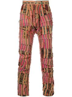 брюки в полоску в стиле пэчворк  Junya Watanabe Comme Des Garçons Man