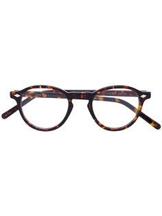 очки в круглой оправе с эффектом черепашьего панциря Lesca