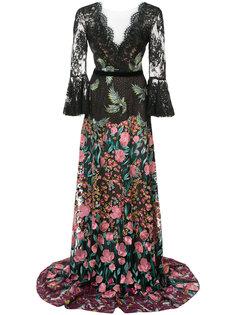 платье макси с цветочной вышивкой Marchesa Notte