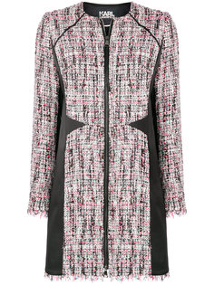 пальто букле с сатиновыми панелями Karl Lagerfeld