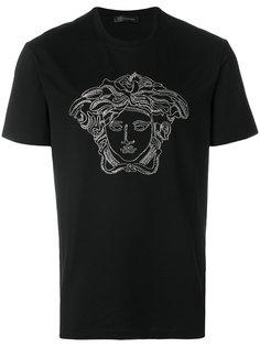 футболка с украшением из кристаллов Medusa Versace