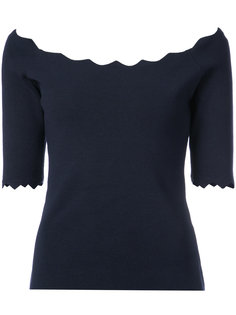 блузка с открытыми плечами и волнистой окантовкой Milly