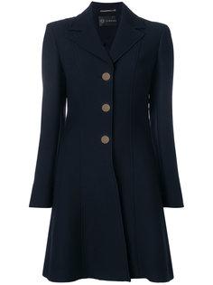 приталенное однобортное пальто Versace