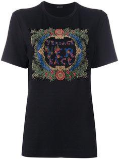 футболка с логотипом с кристаллами Versace