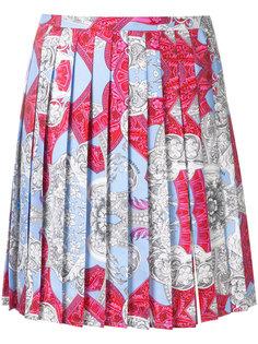 плиссированная юбка с фирменным принтом Versace