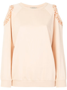 свитер с прорезями на плечах и пайетками Nina Ricci