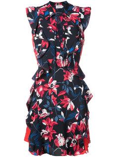 платье с цветочным принтом и оборками Tanya Taylor