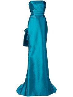 расклешенное платье макси без бретелек  Marchesa