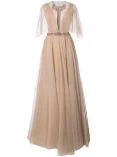 расклешенное платье макси с блестящим эффектом  Marchesa