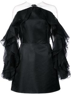 приталенное платье с оборками на рукавах  Marchesa