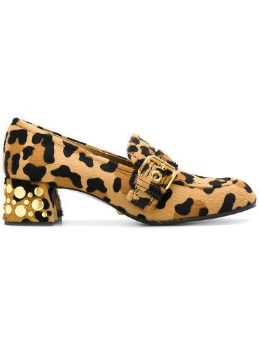туфли с леопардовым узором и пряжками  Car Shoe