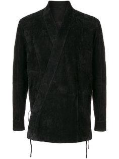 замшевый пиджак с запахом  Balmain