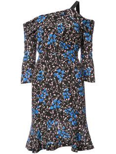 платье с открытыми плечами и принтом Saloni