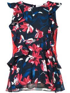 блузка с рюшами и цветочным принтом Tanya Taylor