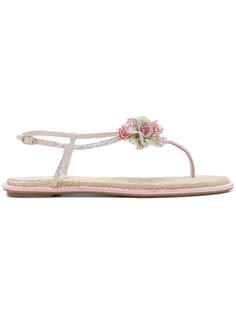 сандалии с цветочным украшением René Caovilla