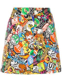мини-юбка с комбинированным принтом  Moschino