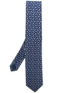 галстук с принтом собак Salvatore Ferragamo
