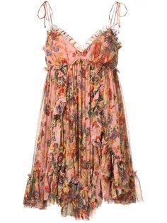расклешенное платье с цветочным принтом Zimmermann