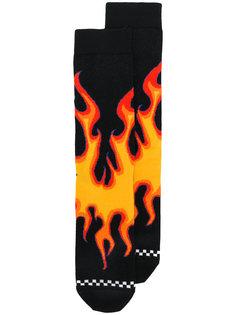 носки с принтом пламени Diesel