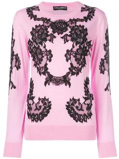 джемпер с кружевной аппликацией  Dolce & Gabbana