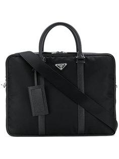 портфель с бляшкой с логотипом  Prada